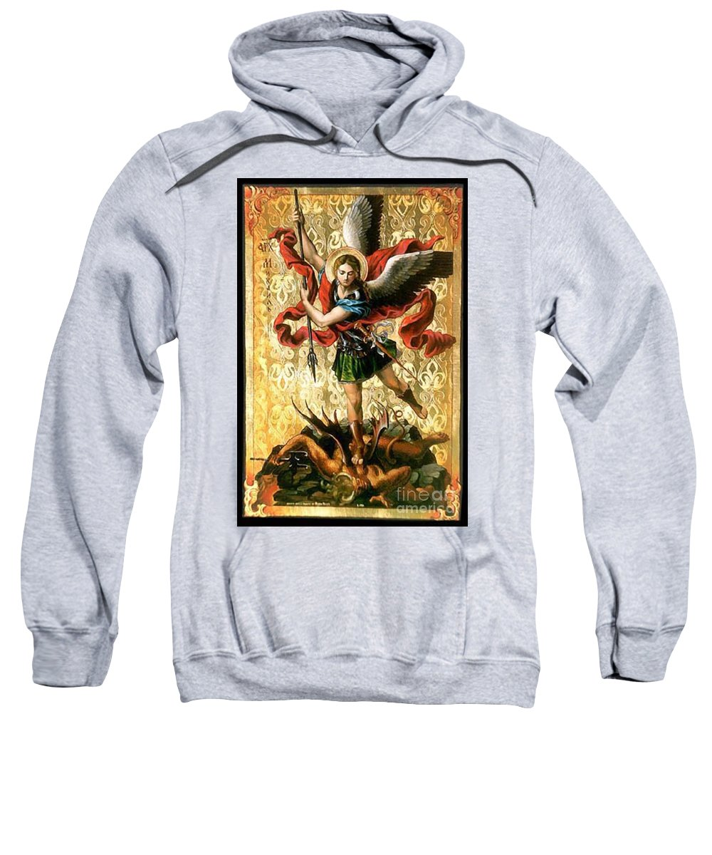 Picture Sweatshirt featuring the painting St. Michael by Archangelus Gallery