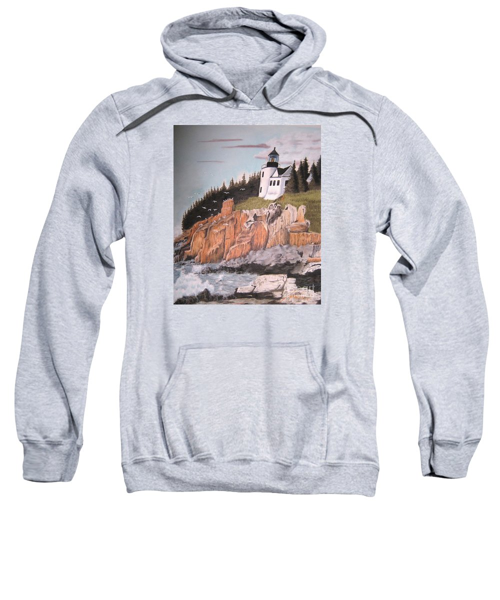 Light House Sweatshirt featuring the pastel Untitled by John Huntsman