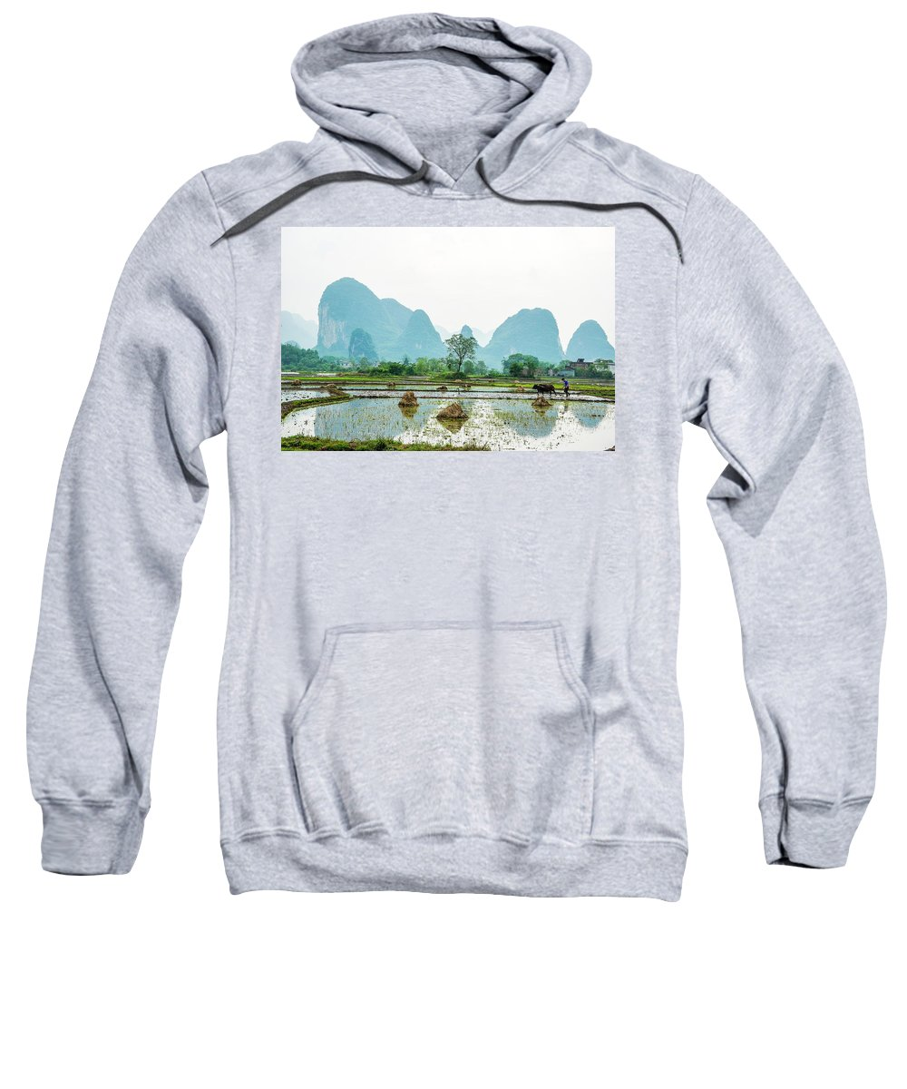 The Beautiful Karst Rural Scenery In Spring Sweatshirt featuring the photograph Karst Rural Scenery In Spring by Carl Ning