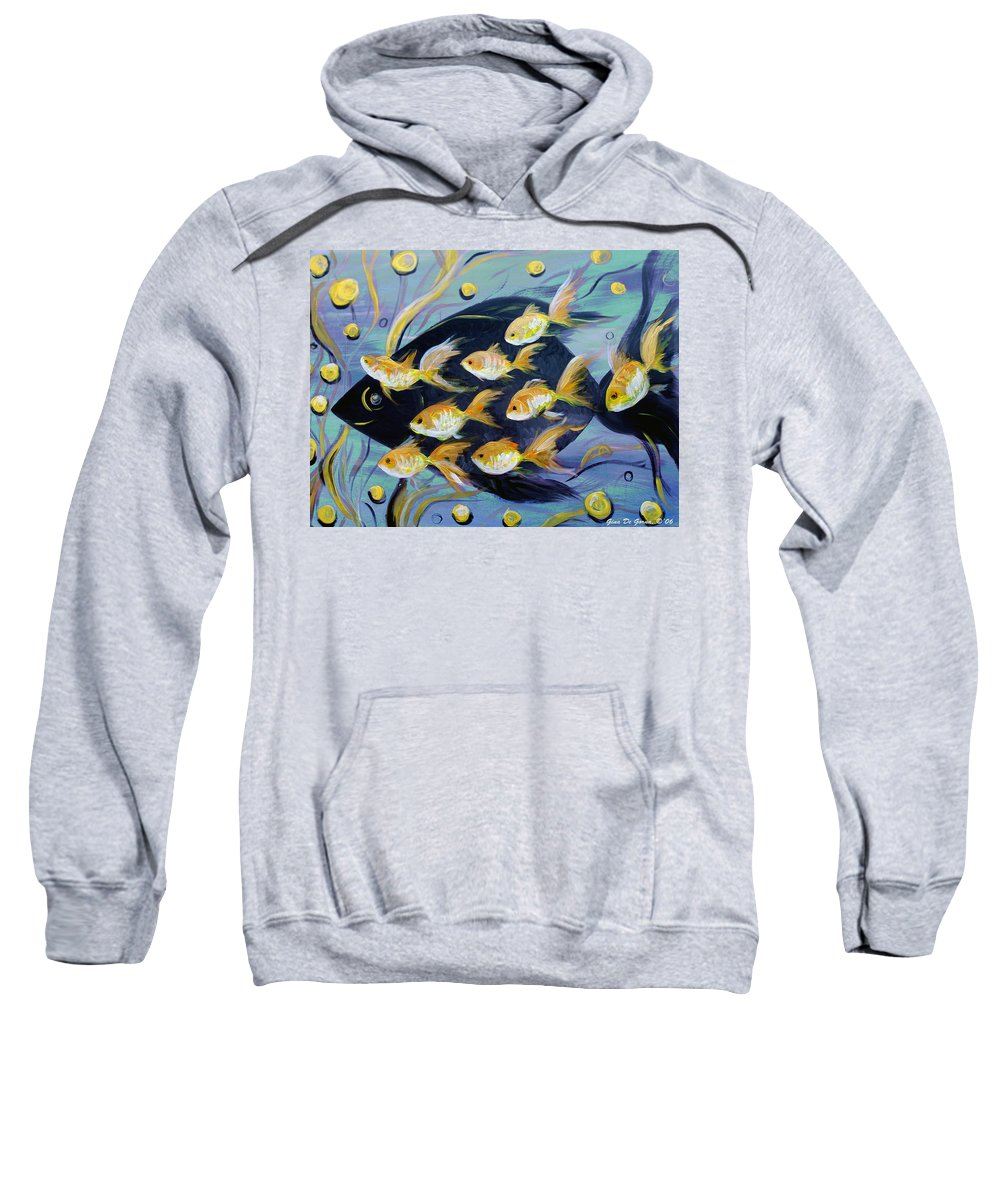 Fish Sweatshirt featuring the painting 8 Gold Fish by Gina De Gorna