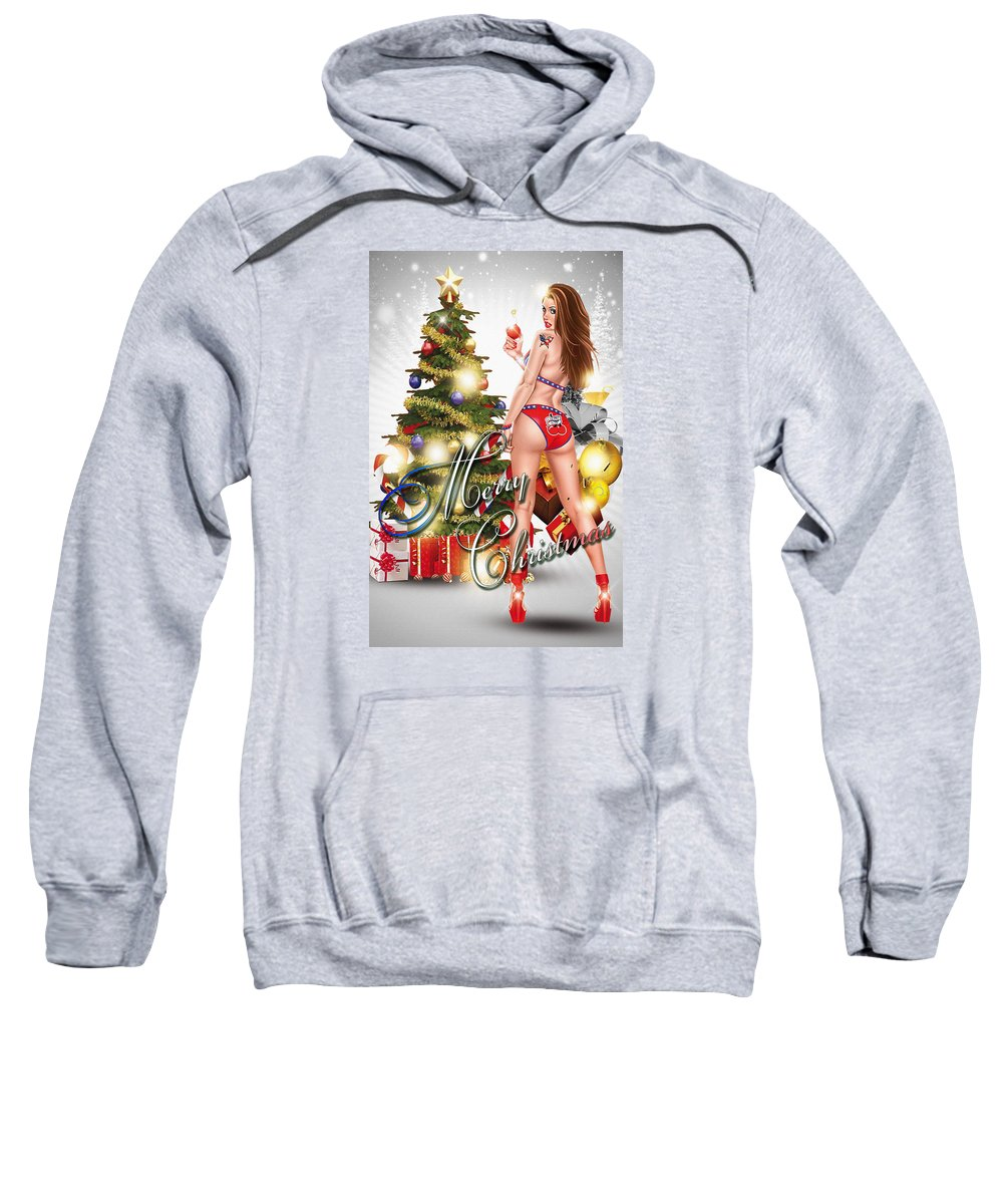 Decoration Sweatshirt featuring the digital art Christmas Greetings by Don Kuing