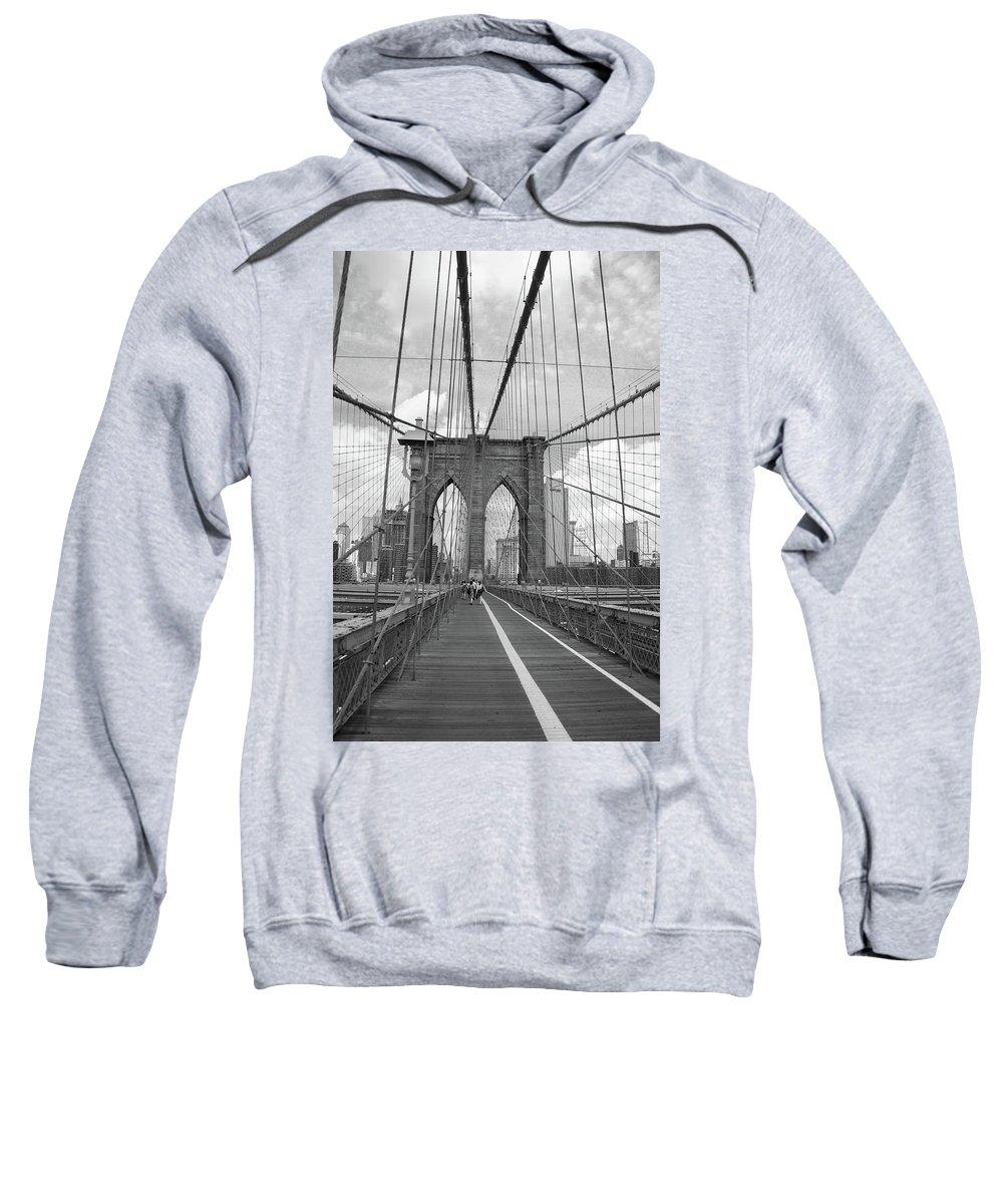 Fine Sweatshirt featuring the photograph Brooklyn Bridge - New York City by Frank Romeo