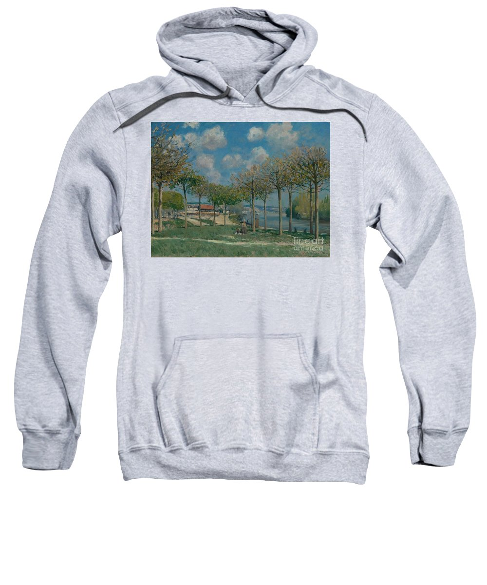 The Seine At Bougival Sweatshirt featuring the painting The Seine At Bougival by MotionAge Designs
