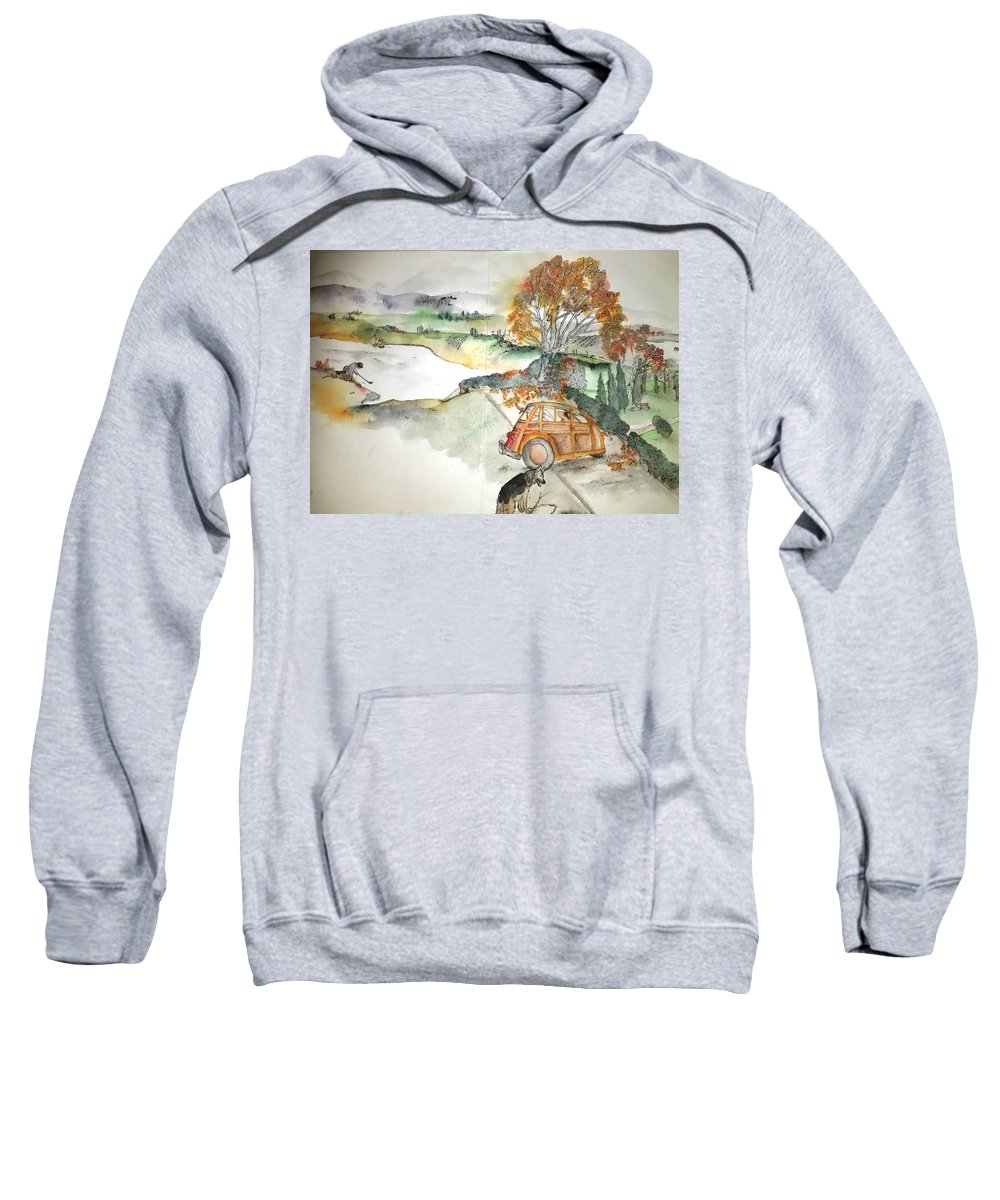 Trees. Landscape. A Woody Vehicle Sweatshirt featuring the painting Trees Trees Trees Again Album by Debbi Saccomanno Chan