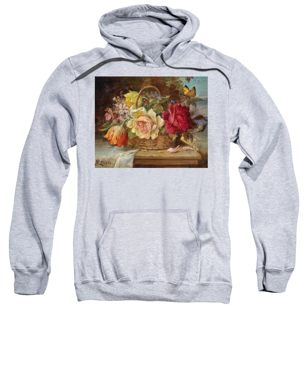 Fruit Sweatshirt featuring the digital art A Basket Of Flowers And A Butterfly Hans Zatzka by Eloisa Mannion