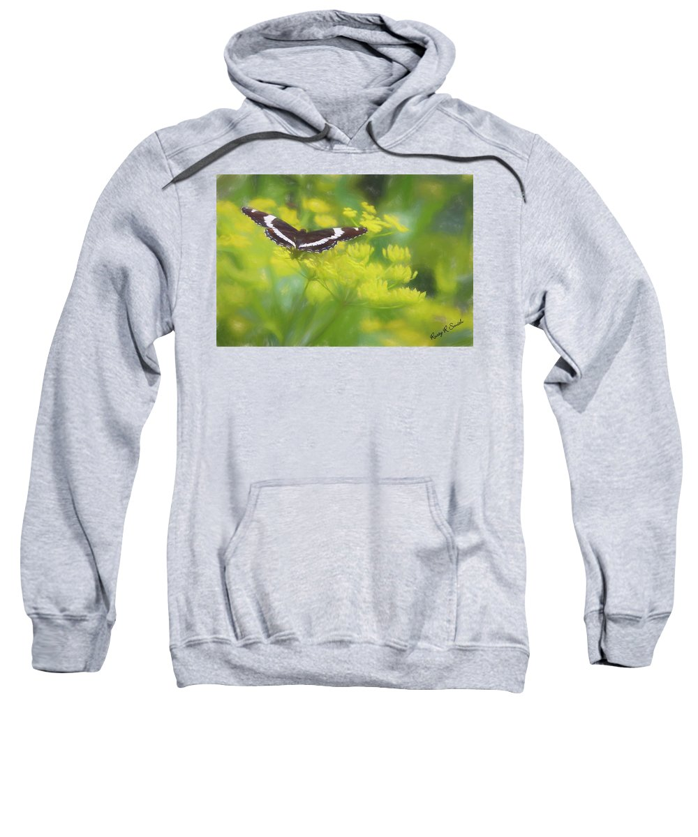 Summer Sweatshirt featuring the digital art A Beautiful Swallowtail Butterfly On A Yellow Wild Flower by Rusty R Smith