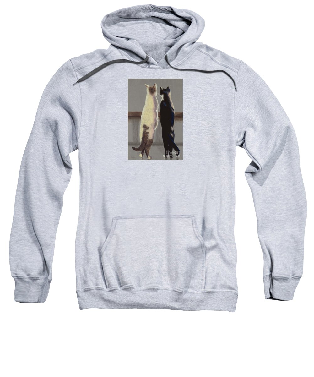 Cat Sweatshirt featuring the painting A Bird by Linda Hiller