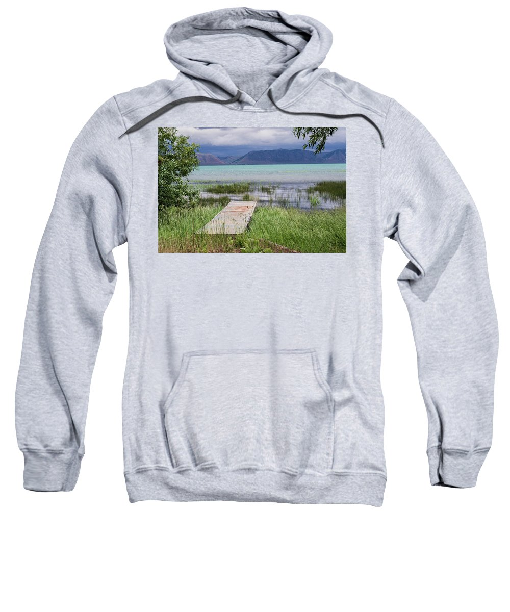Lake Sweatshirt featuring the photograph A Boardwalk To Bear Lake by Mary Lou Stone