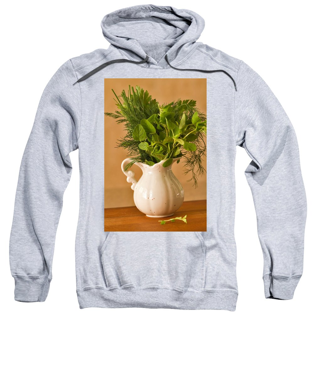 Kitchen Sweatshirt featuring the photograph A Bouquet Of Fresh Herbs In A Tiny Jug by Louise Heusinkveld