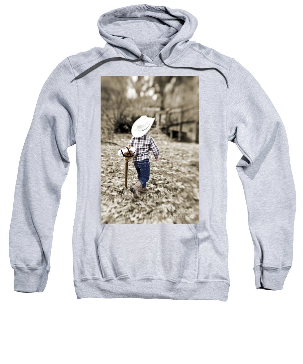 Boy Sweatshirt featuring the photograph A Boy And His Horse by Scott Pellegrin