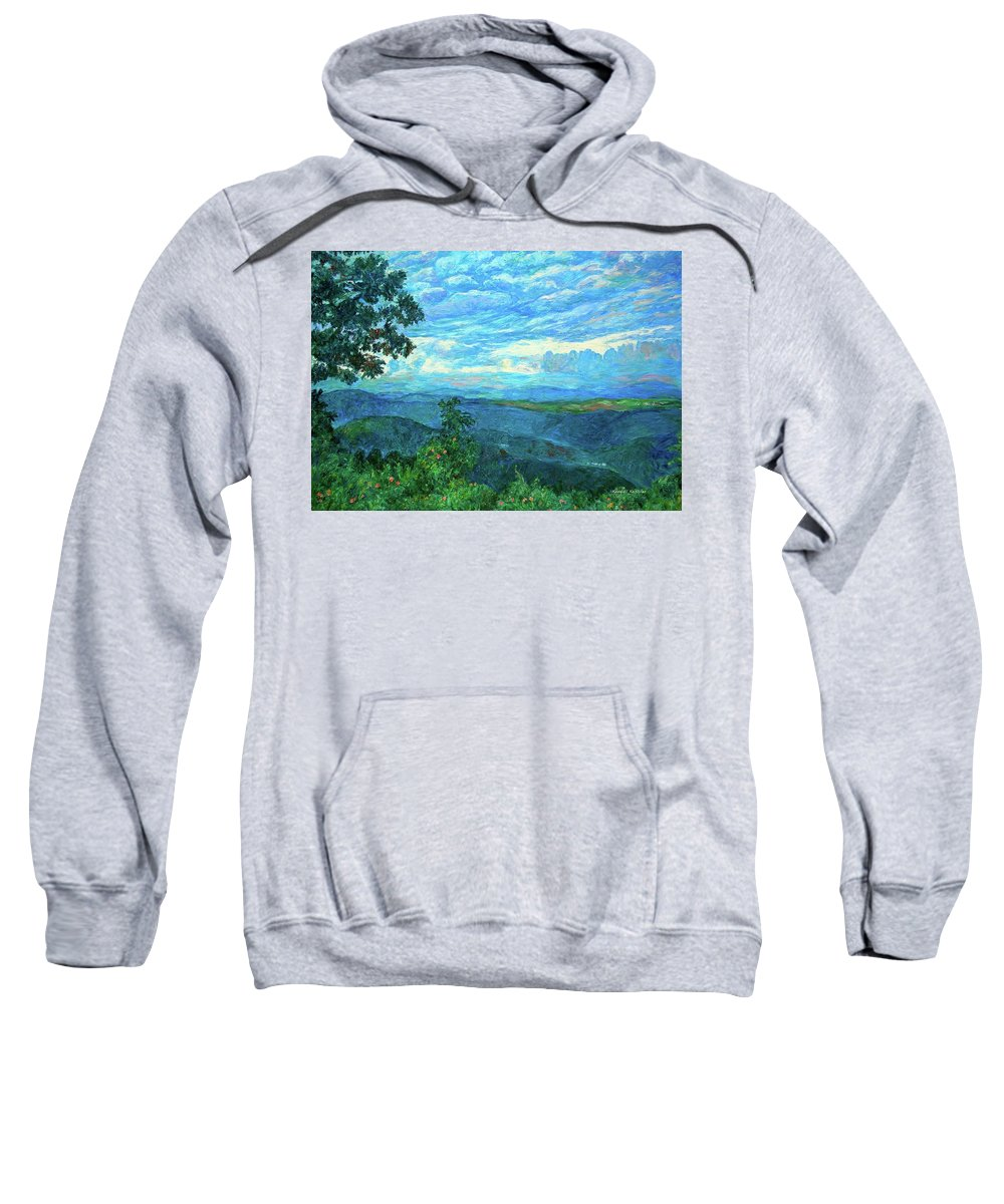 Mountains Sweatshirt featuring the painting A Break In The Clouds by Kendall Kessler