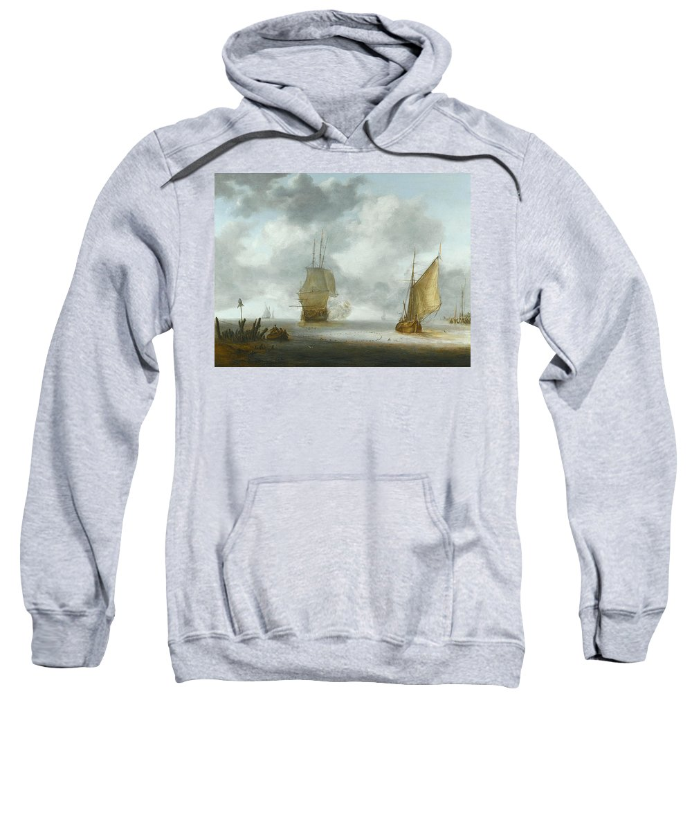 Julius Porcellis Sweatshirt featuring the painting A Calm Sea With A Man Of War And A Fishing Boat by Julius Porcellis