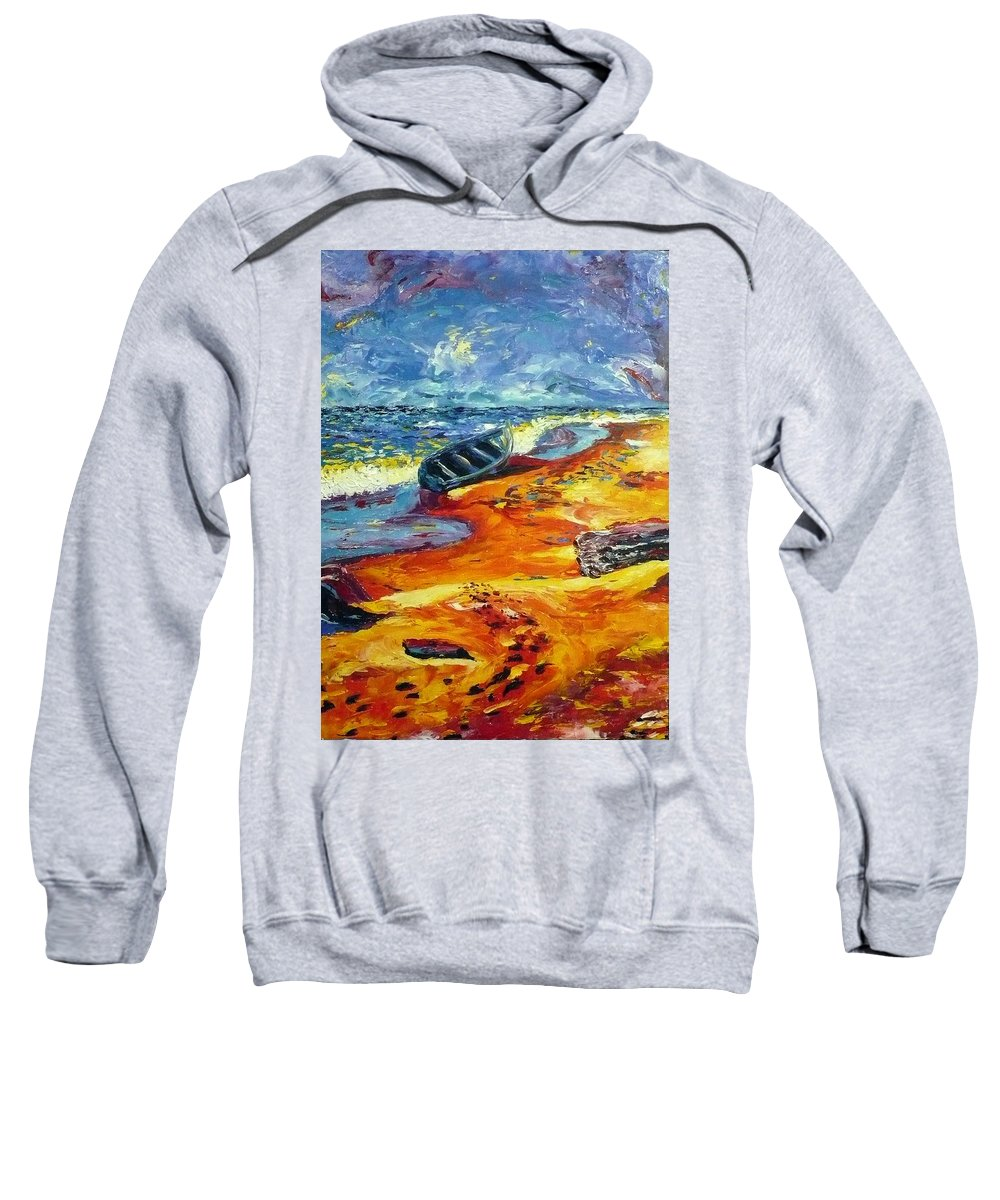 Landscape Sweatshirt featuring the painting A Canoe At The Beach by Ericka Herazo