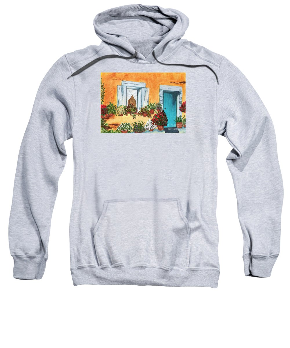 Watercolor Painting Sweatshirt featuring the painting A Cottage In The Village by Patricia Griffin Brett
