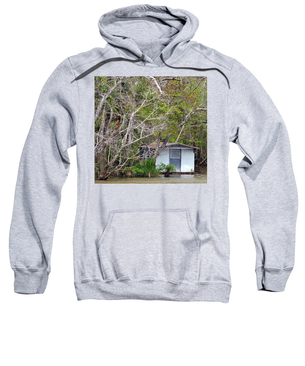 Houseboat Sweatshirt featuring the photograph A Cozy Spot On The Apalachicola River by Carla Parris