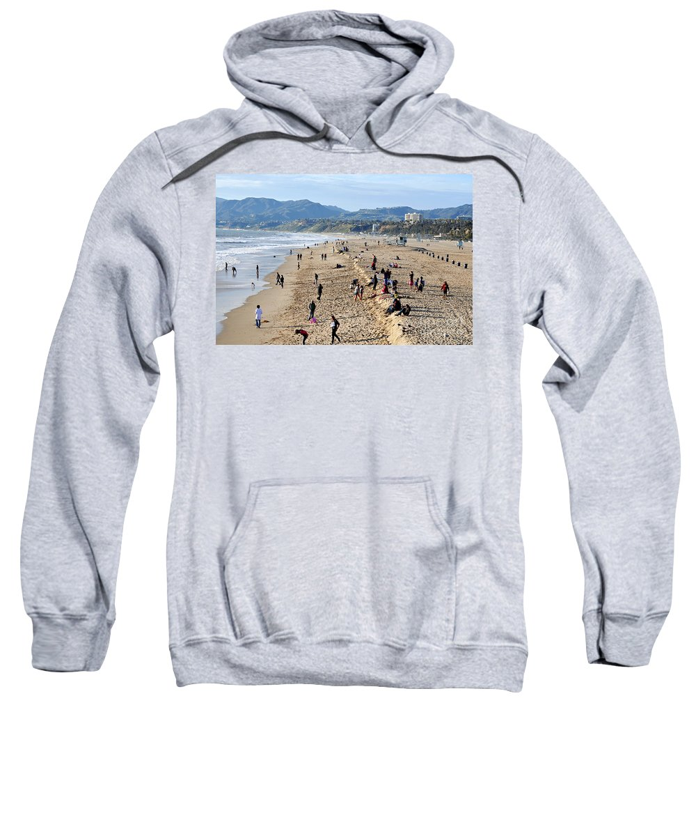 Clay Sweatshirt featuring the photograph A Day At The Beach In Santa Monica by Clayton Bruster