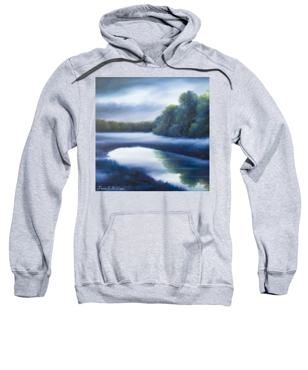 Nature; Lake; Sunset; Sunrise; Serene; Forest; Trees; Water; Ripples; Clearing; Lagoon; James Christopher Hill; Jameshillgallery.com; Foliage; Sky; Realism; Oils; Green; Tree; Blue; Pink; Pond; Lake Sweatshirt featuring the painting A Day In The Life 4 by James Christopher Hill