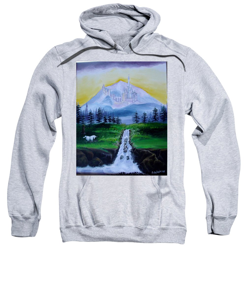 Landscape Sweatshirt featuring the painting A Fairytale by Glory Fraulein Wolfe