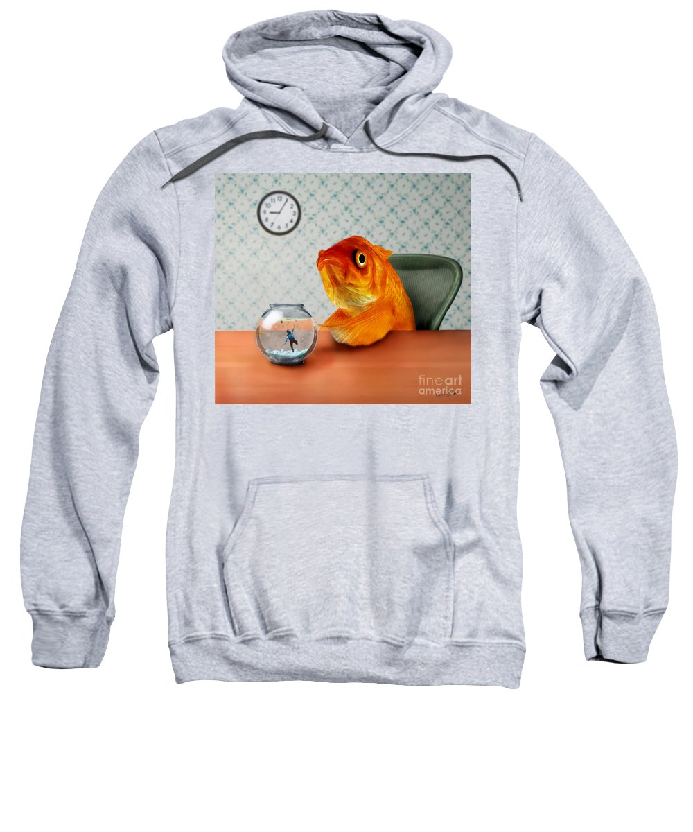 A Fish Out Of Water Sweatshirt featuring the mixed media A Fish Out Of Water by Carrie Jackson