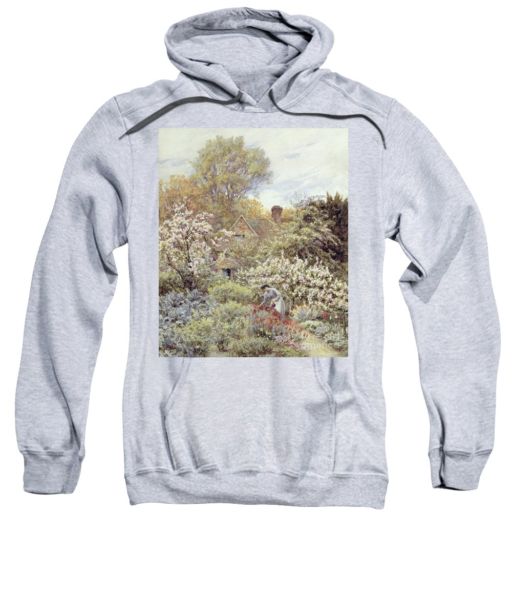 Cottage; Female; Gardener; Rural Scene; Country; Countryside; Home; Path; Wildflowers; Roses; Tulips; Irises; Magnolia; Springtime; Season; Picturesque; Idyllic; House; Female Sweatshirt featuring the painting A Garden In Spring by Helen Allingham