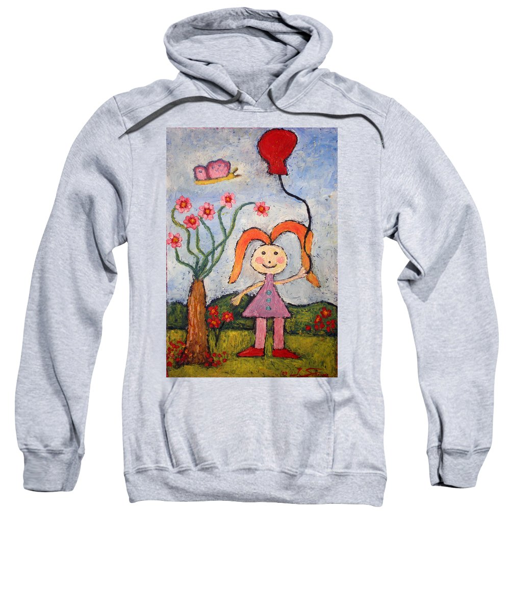 Girl Sweatshirt featuring the painting A Girl With A Balloon by Ioulia Sotiriou