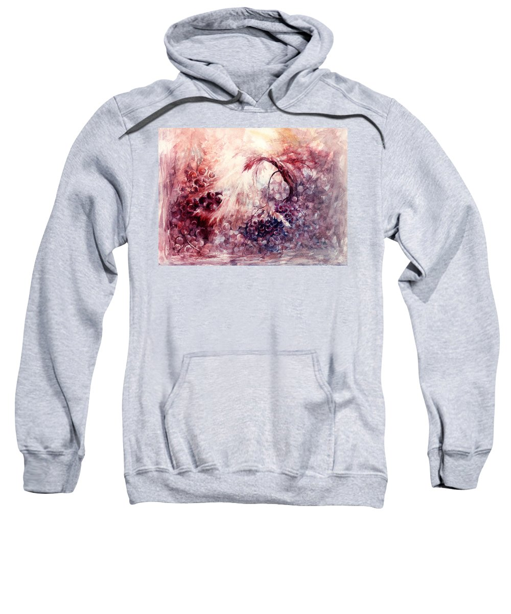 Grapes Sweatshirt featuring the painting A Grape Fairy Tale by Rachel Christine Nowicki