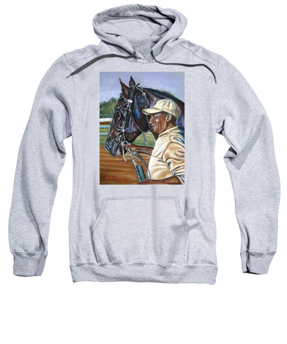 Horse Sweatshirt featuring the painting A Grooms Pride by Marni Koelln
