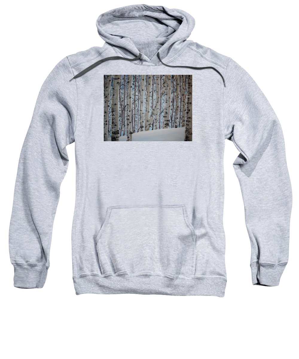 Aspen Sweatshirt featuring the painting A Grove Of Aspens by Cami Lee