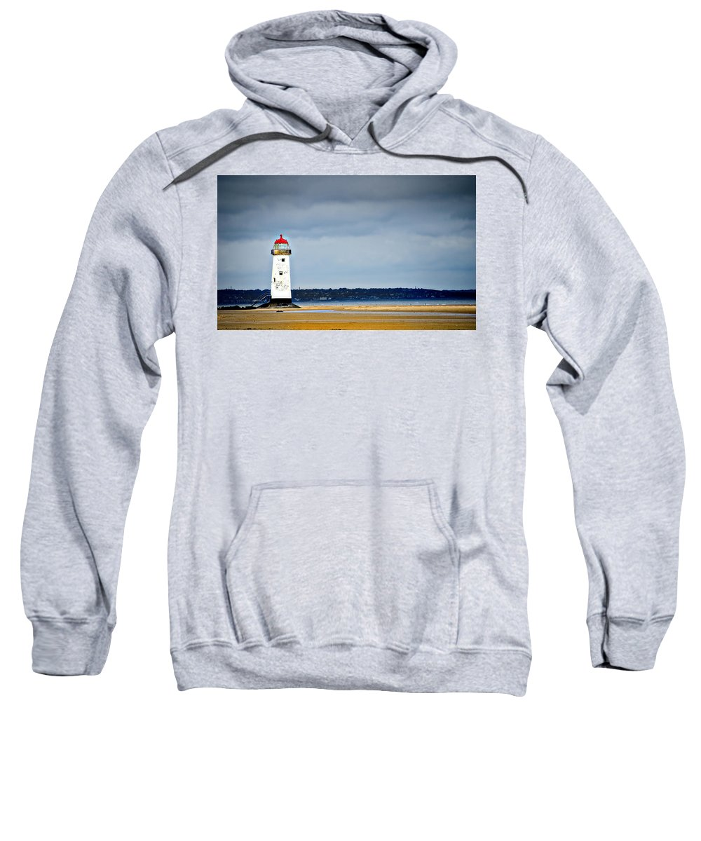 Lighthouse Sweatshirt featuring the photograph A Guiding Light by Meirion Matthias