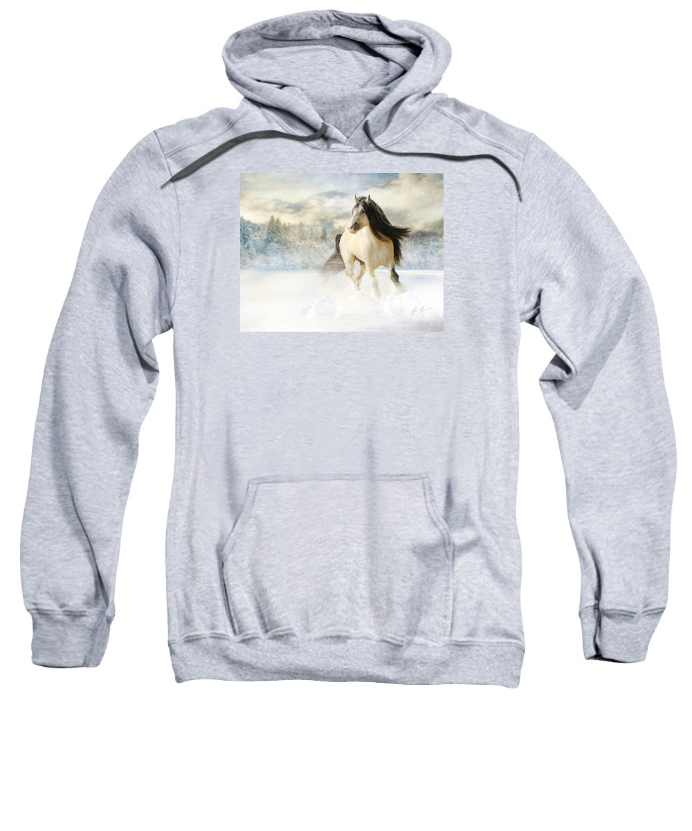Horse Sweatshirt featuring the photograph A Gypsy Winter Journey by Jamie Mammano
