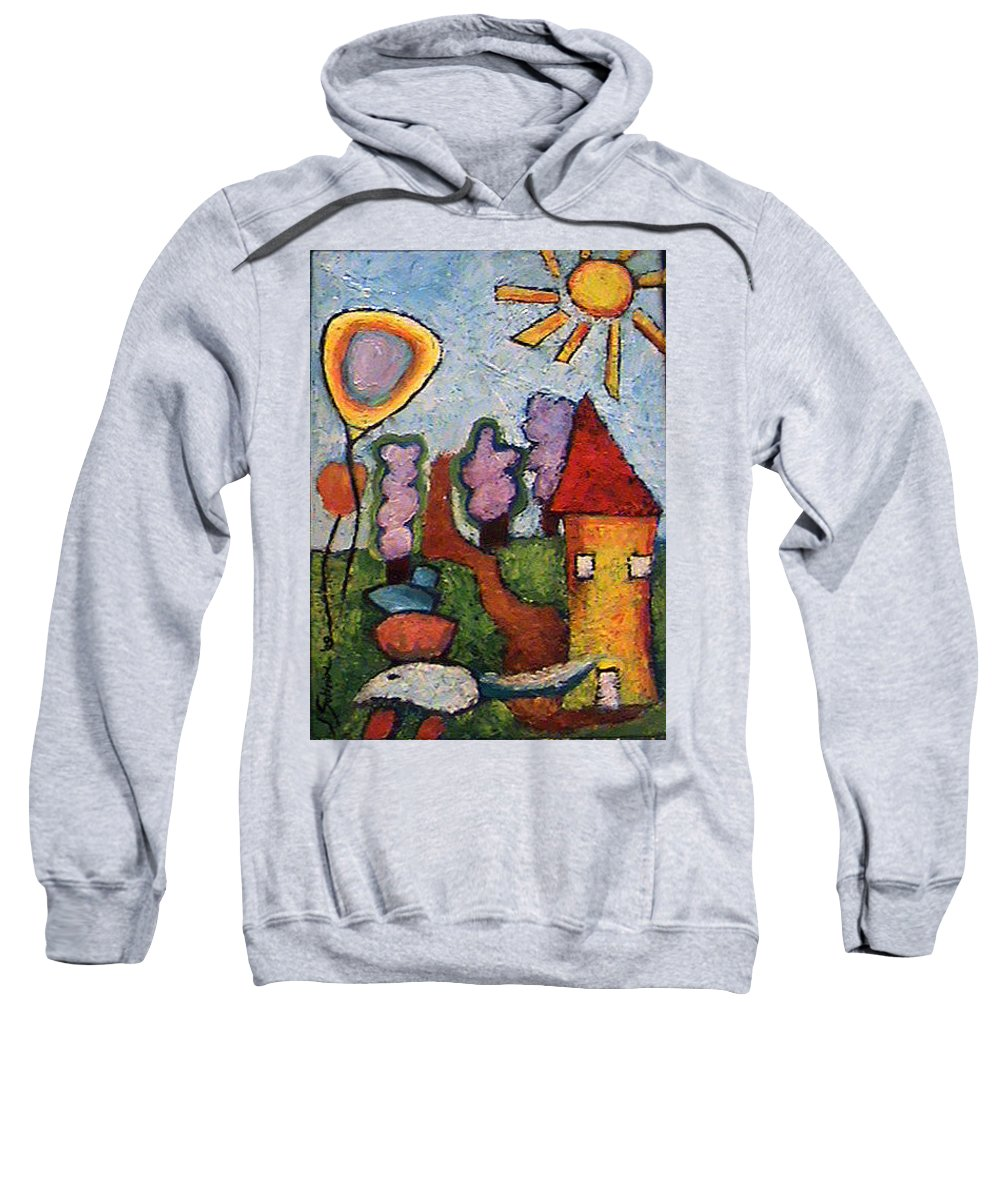 Landscape Sweatshirt featuring the painting A House And A Mouse by Ioulia Sotiriou