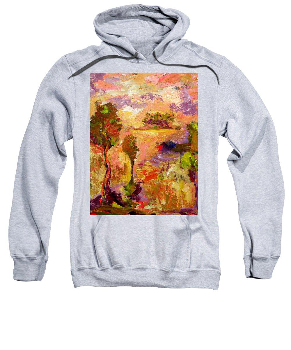 Colorful Canvas Prints Sweatshirt featuring the painting A Joyous Landscape by Julianne Felton