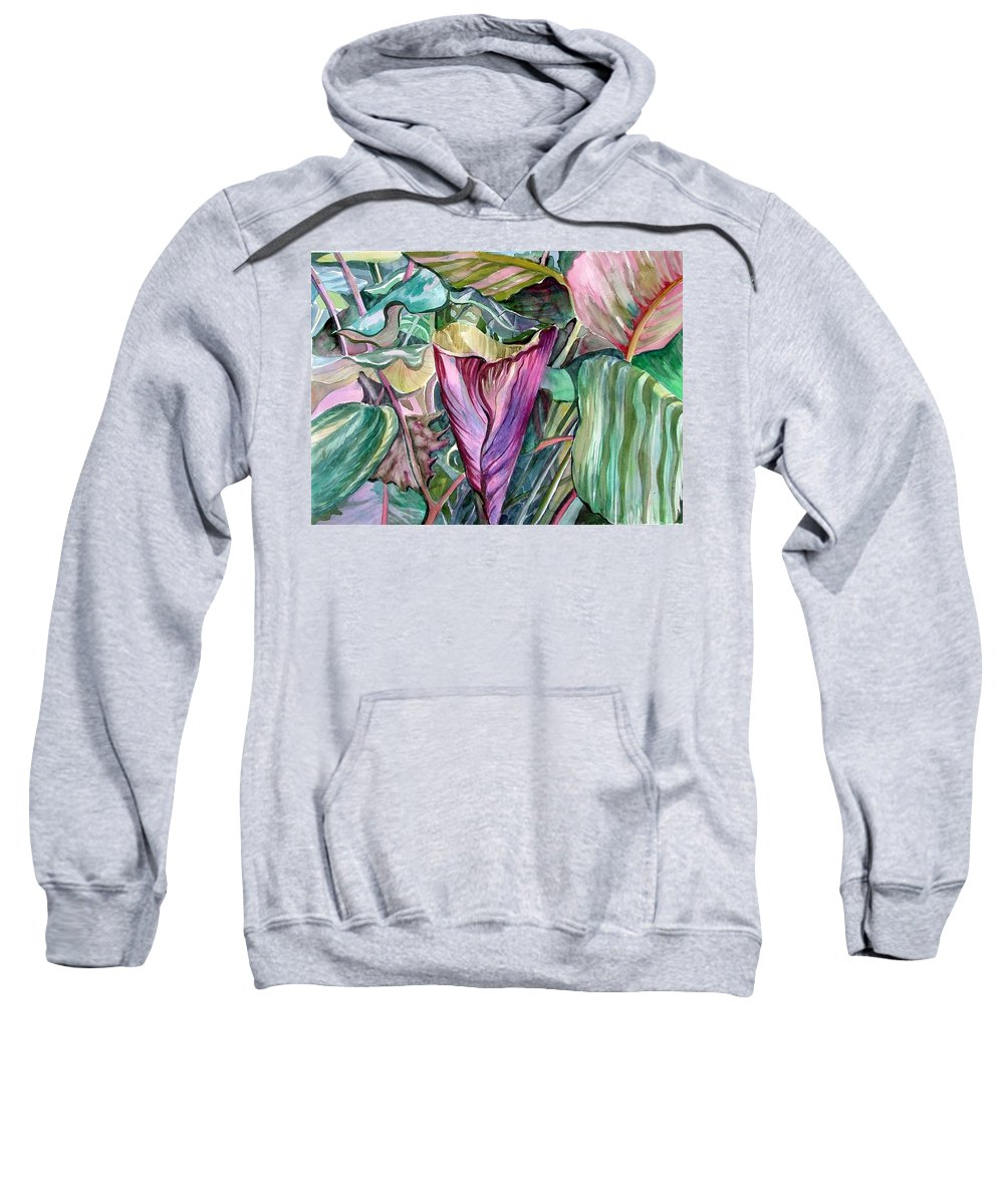 Garden Sweatshirt featuring the painting A Light In The Garden by Mindy Newman