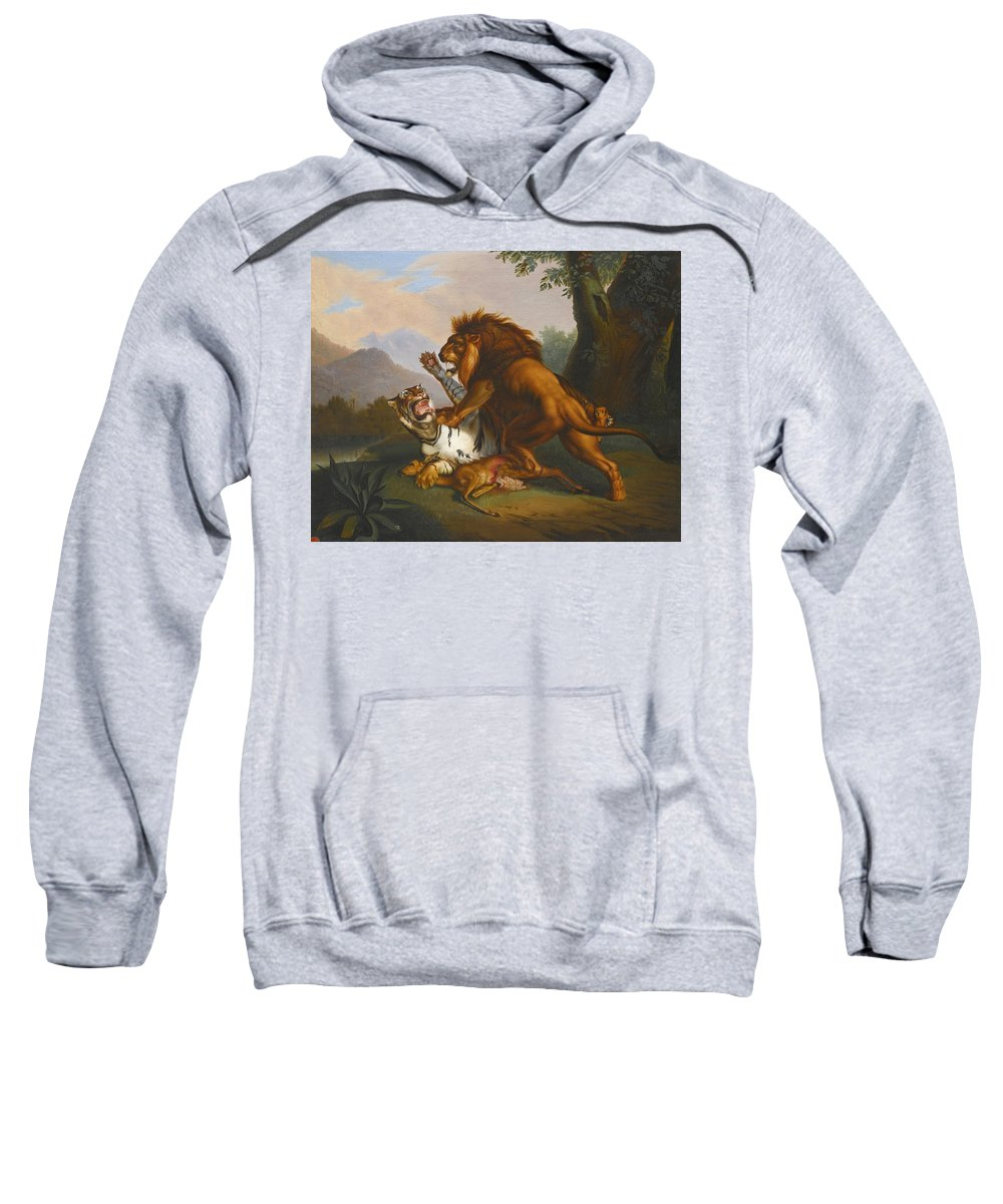 Johann Wenzel Peter Sweatshirt featuring the painting A Lion And Tiger In Combat by Johann Wenzel Peter