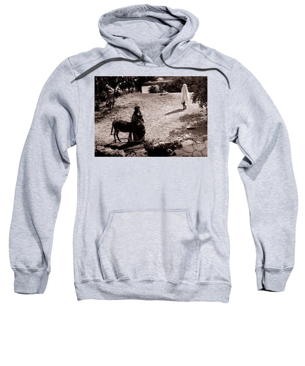 Woman Sweatshirt featuring the photograph A Man With His Bride 1900s by Munir Alawi