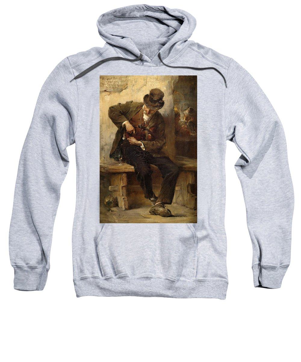 Friedrich Von Keller Sweatshirt featuring the painting A Ministrel With A Wine Glass In A Tavern by Friedrich von Keller