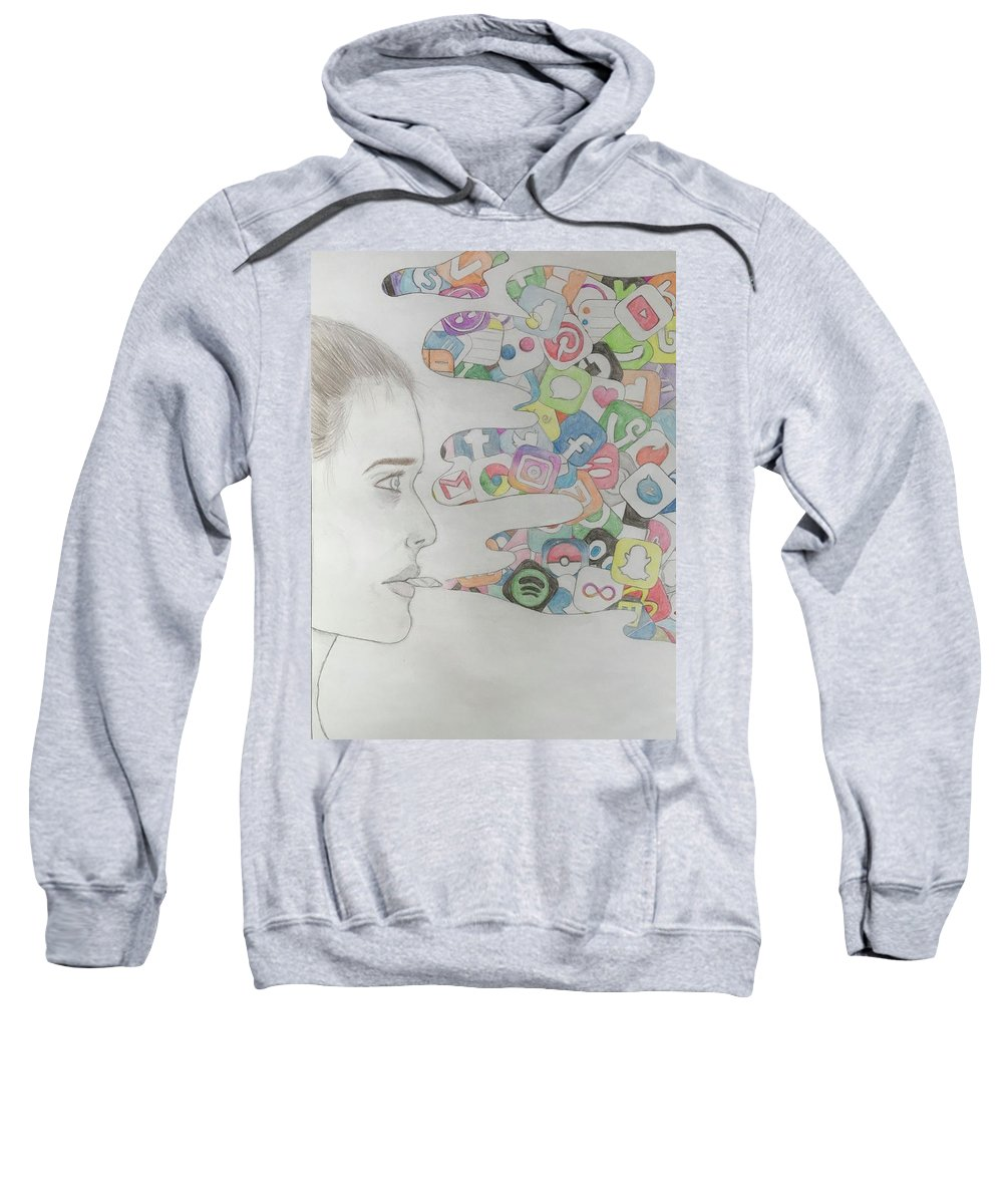 App Sweatshirt featuring the drawing A Modern Drug by Jenny Kirk