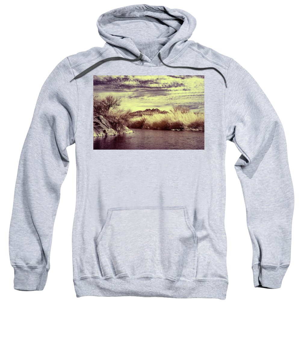 Arizona Sweatshirt featuring the photograph A Mystical River View by Cathy Franklin