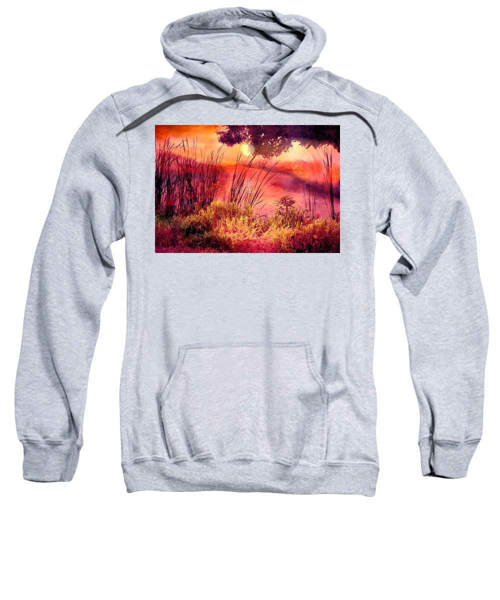 Landscape Sweatshirt featuring the mixed media A New Day by Robin Monroe