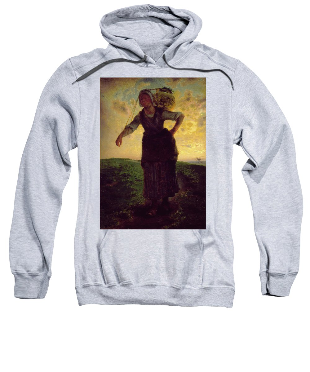 Barbizon School Sweatshirt featuring the painting A Norman Milkmaid At Greville by Jean-Francois Millet