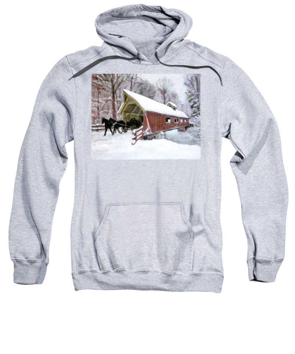 Snow Covered Bridge Sweatshirt featuring the painting A Passion For Life by David Zimmerman
