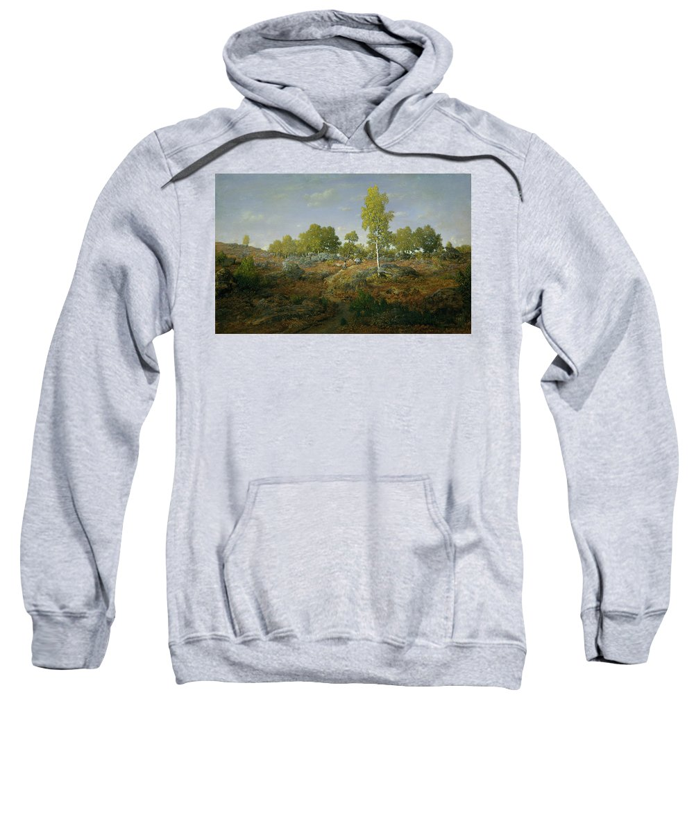 Barbizon School Sweatshirt featuring the painting A Path Among The Rocks by Theodore Rousseau