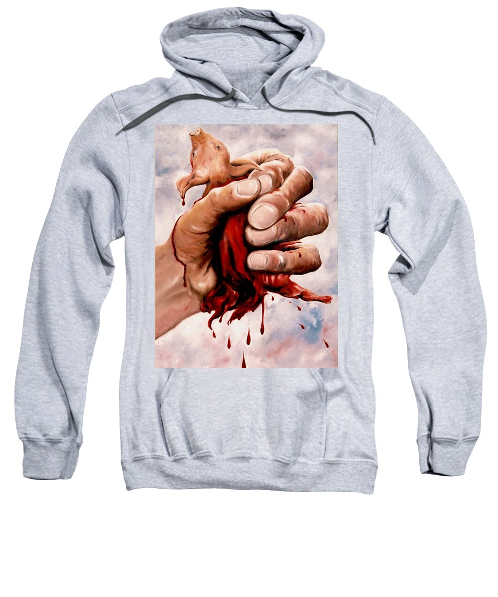 Surreal Sweatshirt featuring the painting A Pigs Life by Mark Cawood