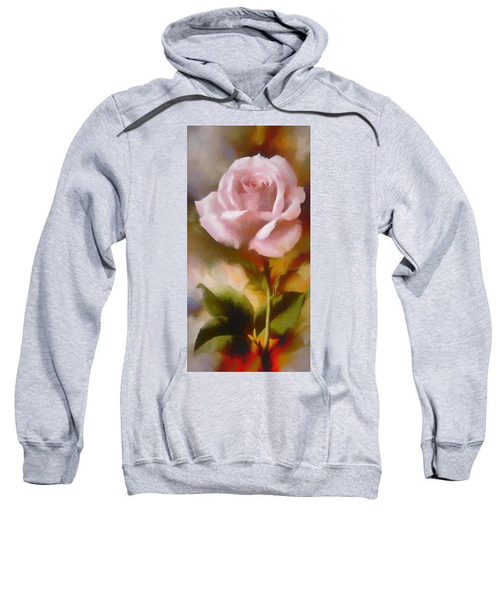 Long Stem Sweatshirt featuring the digital art A Pink Rose For Amelia by Ronald Bolokofsky