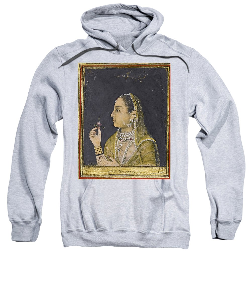 A Portrait Of Jahanara Begum Sweatshirt featuring the painting A Portrait Of Jahanara Begum by MotionAge Designs
