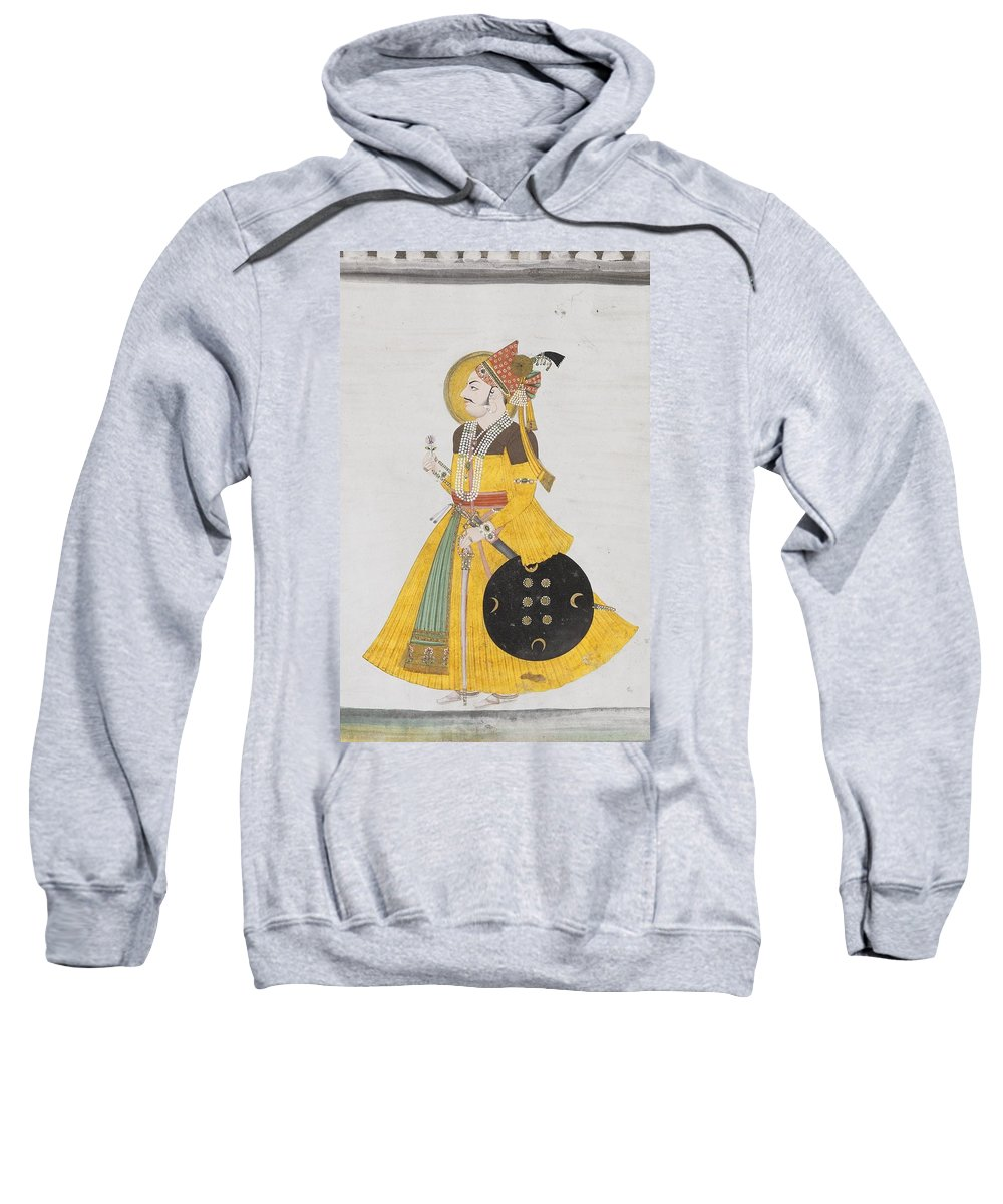 A Portrait Of Maharana Ajay Singh Sweatshirt featuring the painting A Portrait Of Maharana by MotionAge Designs