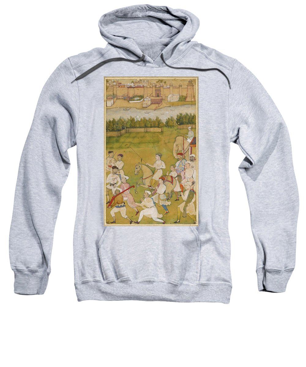 A Prince Rides Out With A Hunting Party Sweatshirt featuring the painting A Prince Rides Out With A Hunting Party by Eastern Accents