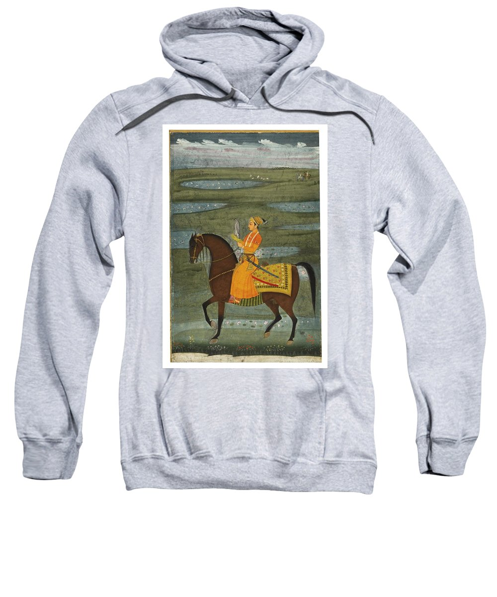 A Prince Riding In A Landscape Holding A Falcon Sweatshirt featuring the painting A Prince Riding In A Landscape by Eastern Accents