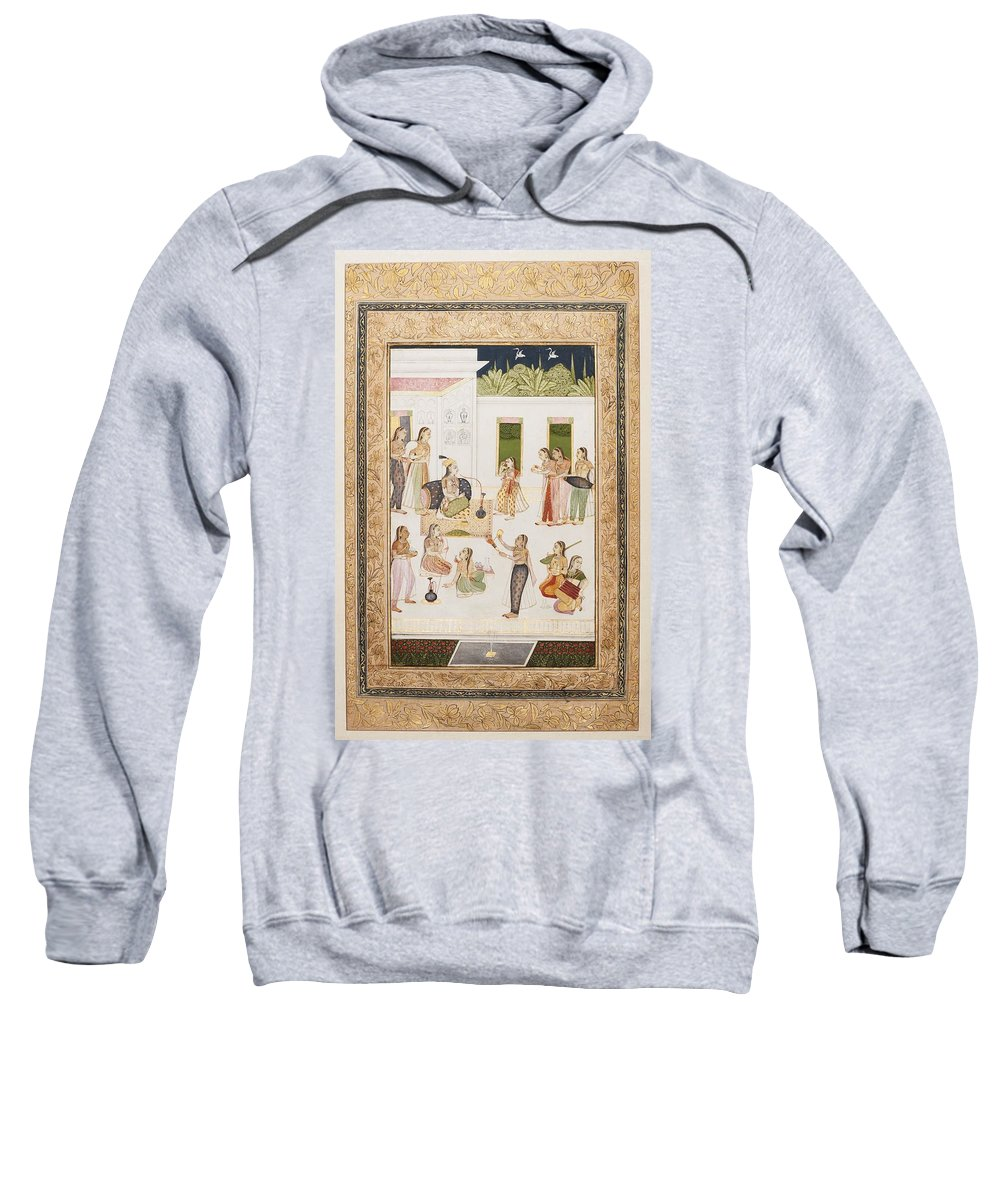A Princess With Attendants On A Terrace Sweatshirt featuring the painting A Princess With Attendants On A Terrace by Abd al Rahim