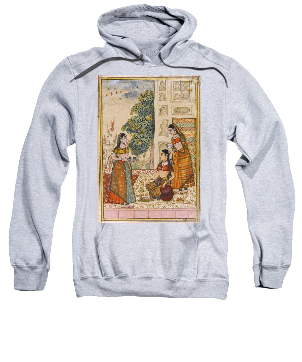 A Princess With Her Maidservants On A Terrace Sweatshirt featuring the painting A Princess With Her Maidservants On A Terrace by Ustad Rashid